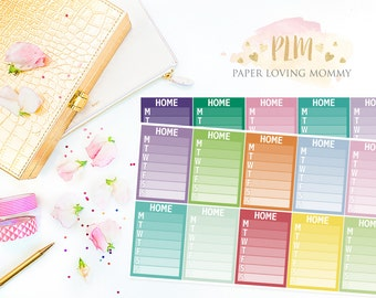 20 Home Sidebar Stickers | Planner Stickers designed for use with the Erin Condren Life Planner | 1105