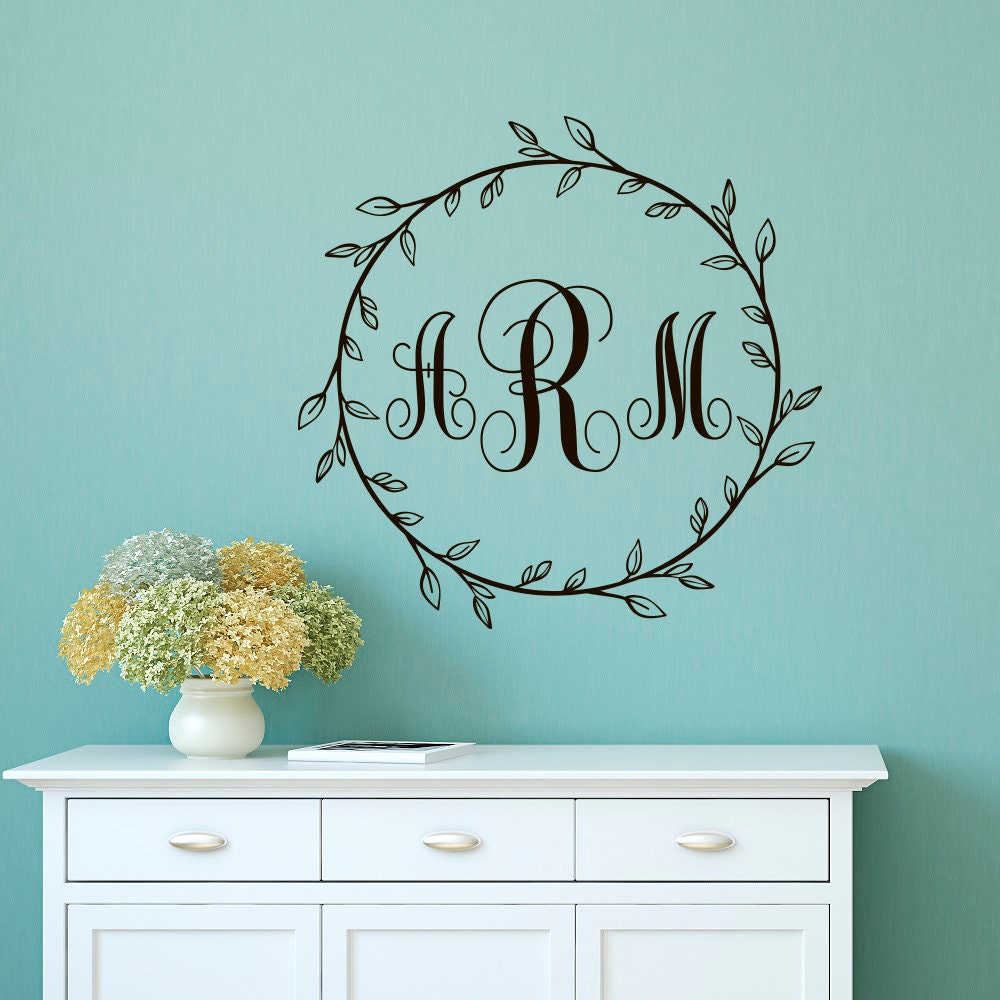 monogram wall decal sticker personalized initial family wall. Black Bedroom Furniture Sets. Home Design Ideas