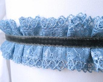 lace and velvet choker victorian inspired blue lace choker lolita cute kawaii
