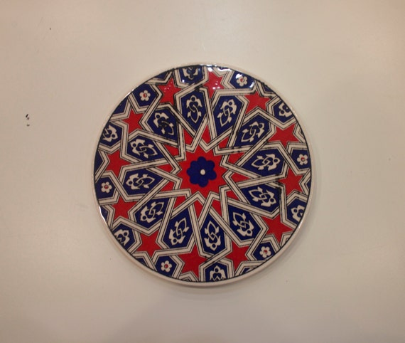 Large Tile, Star Design Ceramic Coaster, Ceramic Hot Pan Mat, Beverage Pads, Traditional Turkisg Ceramics, Ceramic Kitchenware, Decoration