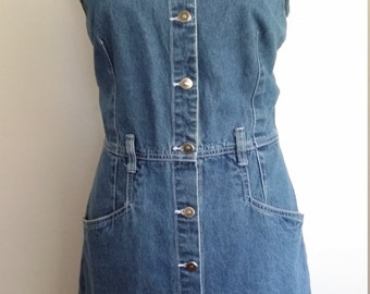 80's denim jumper, M, denim dress, 80's denim, faded denim dress, faded denim jumper, short denim dress, 80's denim dress