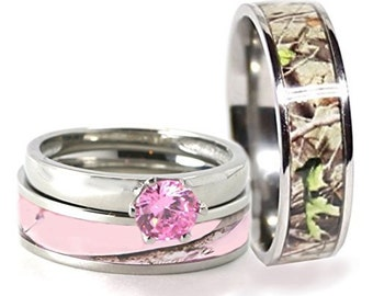 His Hers 3 Pc Camo Pink Stainless Steel And Titanium Hypoallergenic Engagement Wedding Rings Set