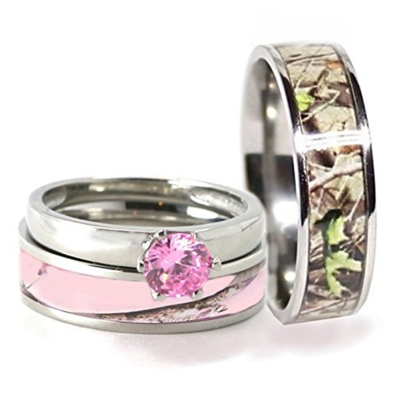 His & Hers 3 pc Camo Pink Sterling Silver, Stainless Steel and Titanium Engagement Wedding Rings Set