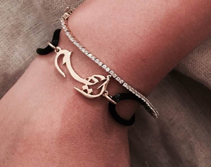 Arabic name Bracelet with colorful cord,handmade of 925 silver and gold plated,personalized bracelet, Arabic calligraphy bracelet,customized