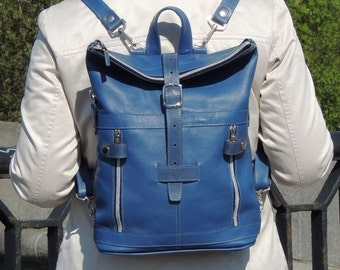 """Blue leather backpack """"Jamaica"""""""