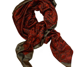 "Soft brown and ruby red patterned scarf / wrap - ""Mara - Ruby"""