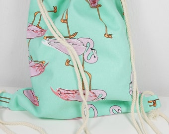 Flamingo Bag, Eco-Friendly, Canvas Shoulder Bag, Drawstring Bags, Reusable Shopping Bag, Printed Pattern, Turquoise Bag, Pink Flamingo