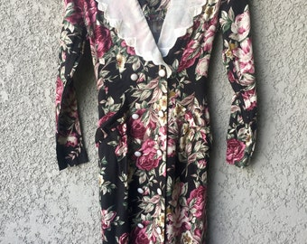 CLEARANCE Black floral Brioche dress
