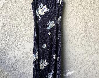 Navy blue floral Jonathan Martin dress