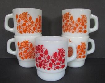 "Anchor Hocking Orange Rose Stacking Mug, Set of 5/ Vintage 1960's Orange and Red Floral, White Milk Glass Coffee Mugs.  3"" wide X 3.5"" tall"