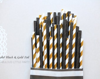 Black and Gold Foil Party Straw Mix The Great Gatsby New Years Eve Party Decorations/Bridal Shower/Birthday/Wedding/Baby Gold Foil/Black