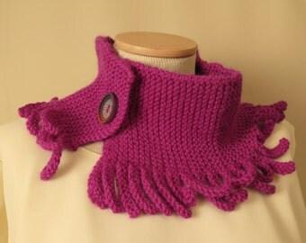 Knit Cowl Wool Alpaca Silk Hand Knit Magenta Cowl Purple Cowl