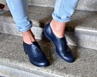 Drake - Womens Leather Oxfords, Classic Handmade Shoes, Vintage Shoes, Womens Blue Oxfords, Custom Shoes, FREE customization!!!