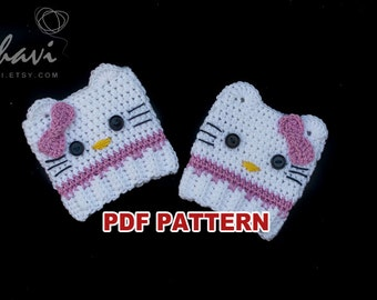White crochet kitty leg warmers pattern #24, Step by step instructions with clear detailed description and exellent images