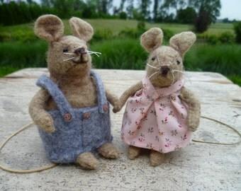 Felt kit 'two mouse children'