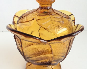 Vintage VIKING GLASS Amber Candy Dish with Lid