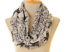 White Voile Elephant Print Infinity Scarf Summer Shawl Loop Circle Hijab Scarves Wraps Adult/Child/Toddler Scarf  (S-14)