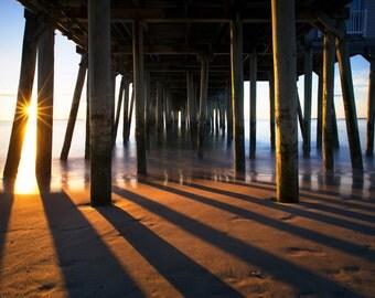 Fine Art Print, Old Orchard Beach, Maine, Pier, Seacoast Photography, Sunrise, Downeast, New England, Nautical Home Decor