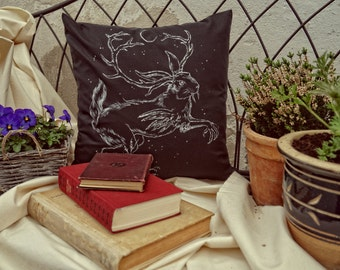 The Wolpertinger - handpainted pillowcase, throw pillow, 40 x 40 cm, black, one of a kind