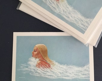 Vintage Stationary Pack 1977 Reproduction of Original Painting by Young Bluth Made in U.S.A Lady in the Water Swimming