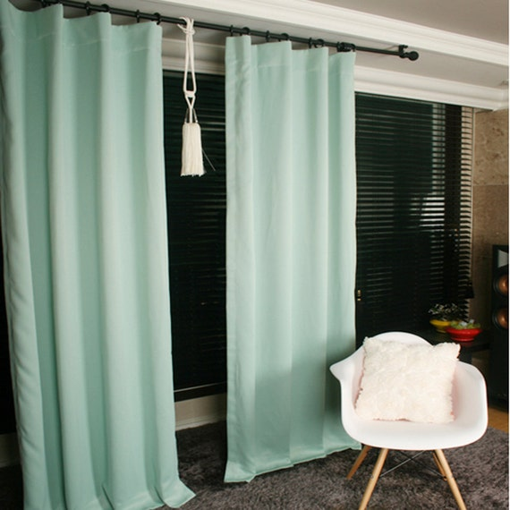 Mint Green Blackout Curtain Drapery Panel For Living By