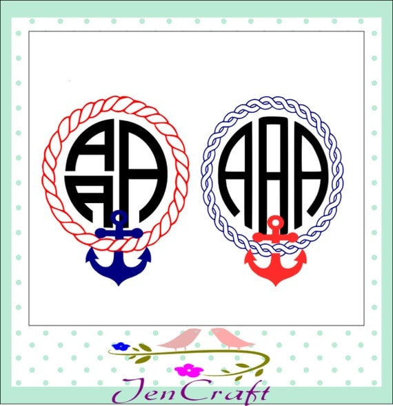 Anchor Monogram Frame SVG Rope Instant Download By