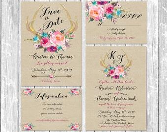 Invitation suite kit Wedding Invitation Deer antler fresh flowers vintage paper watercolor save the date information RSVP Set digital files