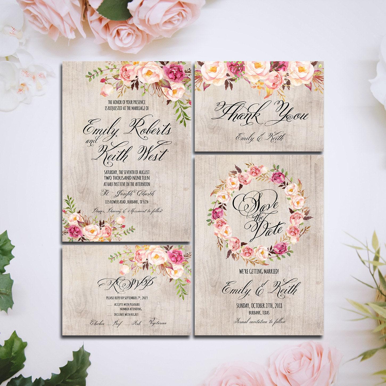 Bohemian Wedding Invitations: Printable Wedding Invitation Suite Boho Rustic Wood