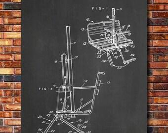 Ski Lift Print Art 1955
