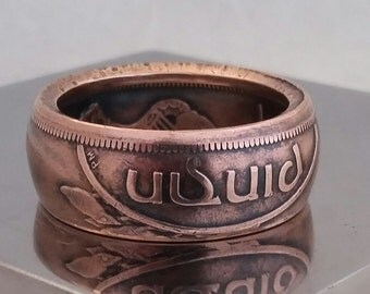 """Ireland 1965 Large Penny Handcrafted  Beautiful  """"Copper"""" Ring !"""