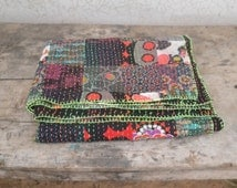 Colorful patch work quilt, indian bedding, boho living, ralli quilt, bohemian throw, sofa throw, gypsy, black flower, home decor, kantha rag