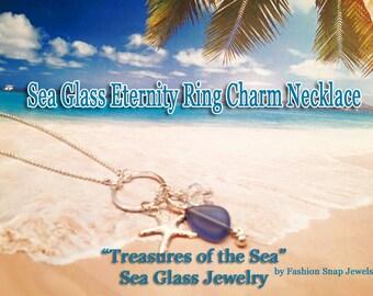 Sea Glass, Eternity Ring, Charm Necklace, Beach Wedding, Bridesmaid Jewelry