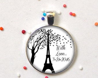 Travel pendant - Paris pendant - Travel memory charm - France keepsake - custom pendant - necklace, pendant or keychain - personalized