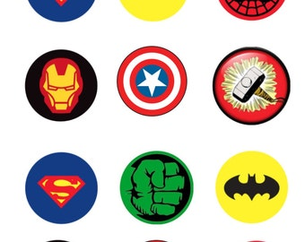 Edible Super Hero Cupcake/Cookie Toppers, Cupcake Picks, Gift Bag Stickers
