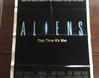 Aliens Laserdisc and Original Aliens Movie Poster / Vintage Aliens Laser Disc and One Sheet Promotional Film Poster