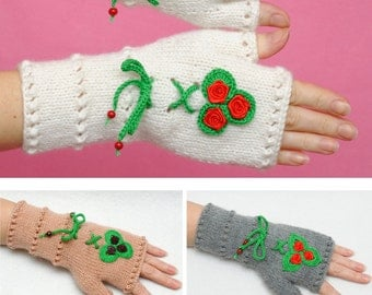 Floral gloves Gift for Her Fingerless Gloves with Flowers Girlfriend Gift for Women gift ideas Fingerless Mittens Winter gloves Accessories