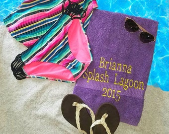 Embroidered Beach Towel, Customized & Personalized Towel, Towel, Memory Towel, Beach Towel,