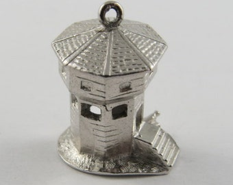 Watch Tower Sterling Silver Vintage Charm For Bracelet