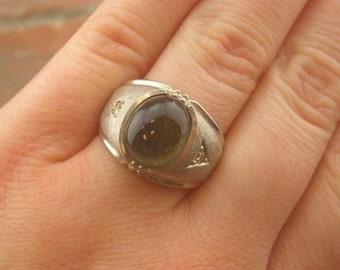 Vintage Sterling Silver Oval Quartz Texured Men's Ring Size 8