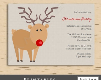 Printable Red Nose Reindeer Christmas Party Invitation 5x7 Cute Rudolph Invite Diy INSTANT DOWNLOAD You Edit PDF