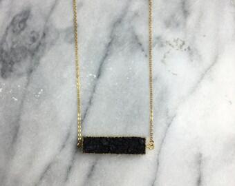 Black Druzy Necklace, Druzy Necklace, Black Necklace, Gold Necklace, Crystal Necklace, Druzy Jewelry, Druzy, Titanium Druzy, Crystal