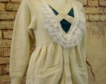 Cream white cardigan chunky knit pullover lace ruffle trim upcycled rustic mori fashion size small / medium