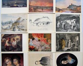 Shevchenko - Artist Postcards Vintage Set of 24 Soviet Ukrainian Fine Art Postcards - 1963 Taras Shevchenko Paintings Postcards