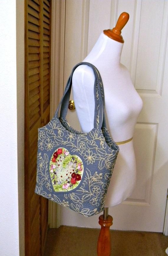 Embroidered denim bag light blue handbag with heart hand