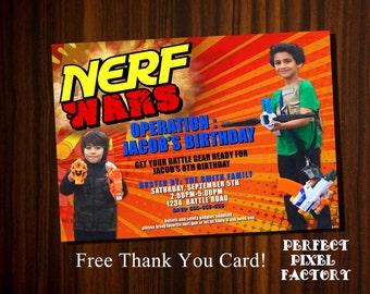 Nerf Invitation,Nerf Birthday,Nerf party,Photo invitation,Nerf picture invitation,Nerf Gun invitation,Nerf printable invitation