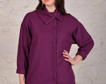 Fuji Mt Top - Women's Sewing PDF Pattern - Sizes s,m,l,xl - Relaxed Asymmetric Collar Button Front Top by The Sewing Workshop