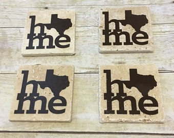 Texas HOME Coasters - State Pride Coasters - Set of 4 Coasters - Housewarming Gift - State Home Coaster - Wedding Gift - Stone Coasters