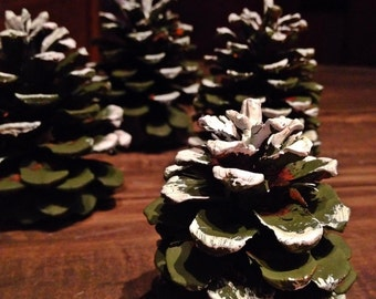 Cinnamon Scented Pine Cone Christmas Trees with Snow