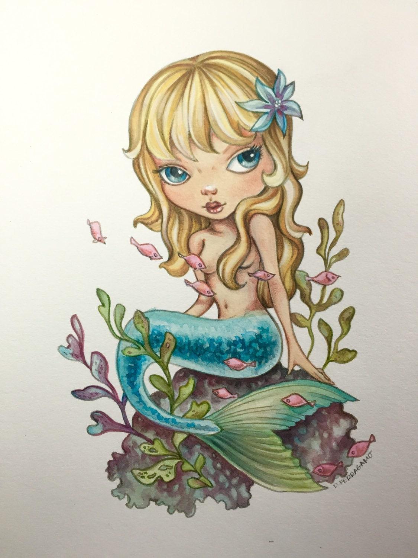 Cute mermaid watercolor art print lowbrow by artsydenisetoo for Cute watercolor paintings