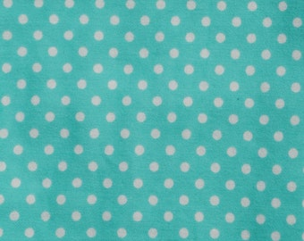 Teal Polka Dot Flannel Baby Blanket